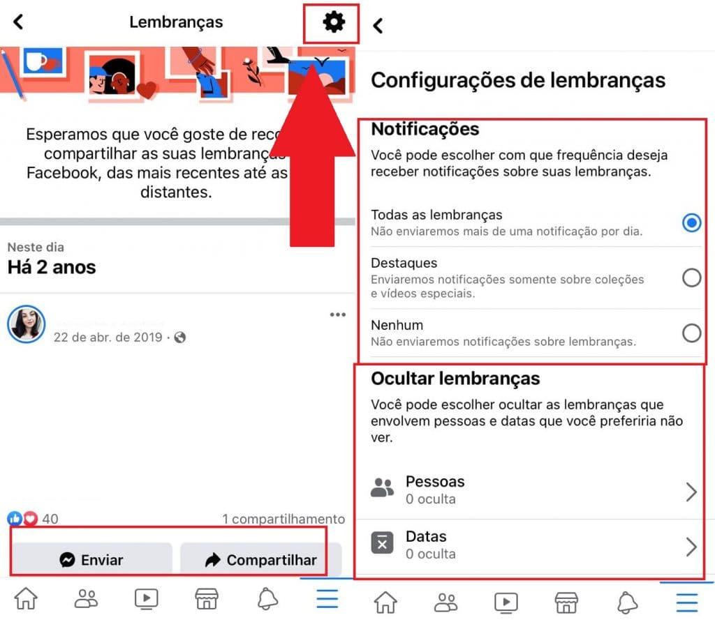 """Como configurar para não receber notificações de """"Lembranças""""? Imagem: Olhar Digital"""